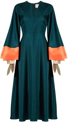 Roksanda Henning V-neck fluted satin midi dress