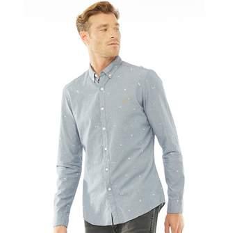 29d60d92a674 Farah Mens Radcliffe Slim Fit Long Sleeve Shirt Cornflower