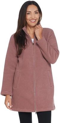 Denim & Co. Regular Chenille Fleece Sherpa Long Sleeve Coat