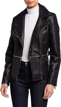 P. Luca Vegan Leather Zip Moto Jacket
