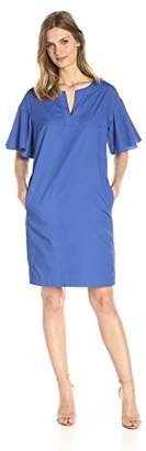 Lark & Ro Women's Drop-Shoulder Ruffle Sleeve Shift Dress