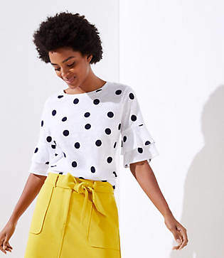 LOFT Petite Dotted Vintage Soft Bell Cuff Tee