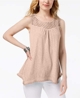 Style&Co. Style & Co Cotton Lattice-Detail Sleeveless Top, Created for Macy's