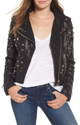 Blank NYC BLANKNYC Denim Studded Faux Leather Moto Jacket