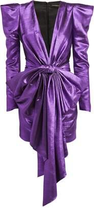 Alexandre Vauthier Purple Lame Bow Front Dress