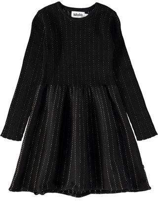 Molo Cameron Long-Sleeve Rib-Knit Lurex Dress, Size 3T-12