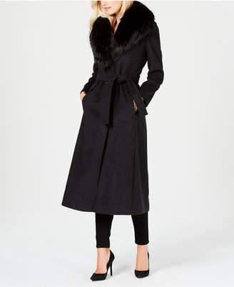 Calvin Klein Faux-Fur-Collar Maxi Coat