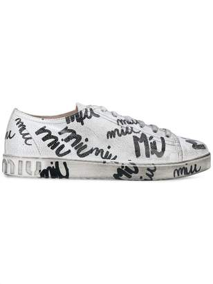 Miu Miu scribble print lace up trainers