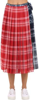 Tommy Hilfiger Tommy Pleated Check Techno Midi Skirt