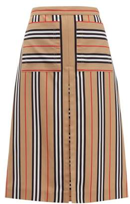 Burberry Arisa Box Pleated A Line Skirt - Womens - Beige Multi