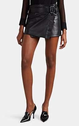 Prada Women's Leather Belted Miniskirt - Black