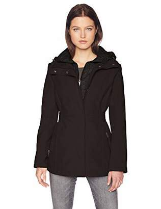 Kenneth Cole New York Women's Mid Length Zip Trench Jacket with Hood and Mixed Quilting