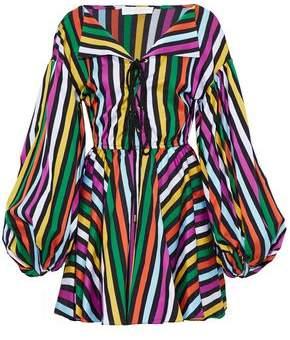 Caroline Constas Lace-Up Striped Cotton-Poplin Mini Dress