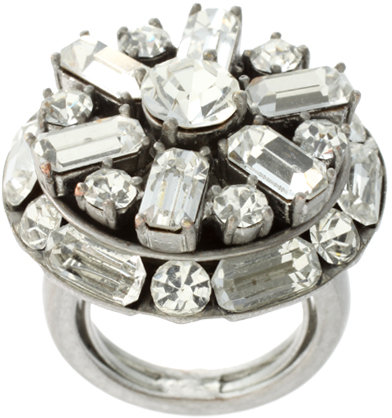 Juicy Couture Silver Tone And Crystal Vintage Style Ring