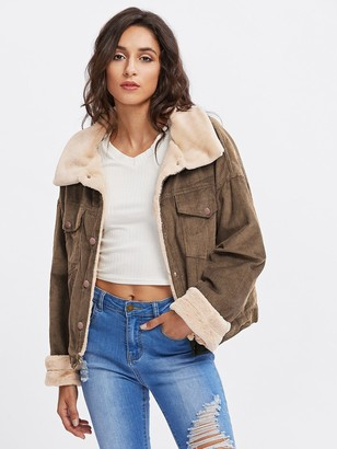 Shein Fleece Inside Drop Shoulder Corduroy Jacket