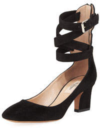 Suede Caged-Ankle Pumps