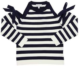 Milly Minis Open Shoulder Viscose Blend Knit Top