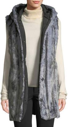 Via Spiga Faux-Fur Reversible Hooded Vest