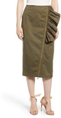 Chelsea28 Asymmetrical Zip Ruffle Midi Skirt