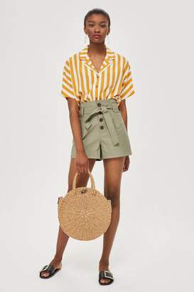 Topshop Leather Look Paper Bag Shorts