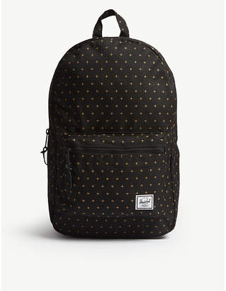 Herschel Black and Gridlock Gold Cross-Print Settlement Canvas Backpack