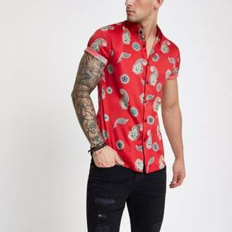 River Island Red satin paisley slim fit short sleeve shirt