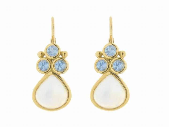 Temple St.Clair Blue Moonstone Teardrops with Blue Sapphires