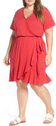 Caslon Asymmetrical Hem Faux Wrap Dress