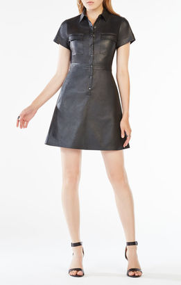BCBGMAXAZRIA Stephana Faux-Leather Shirt Dress $298 thestylecure.com