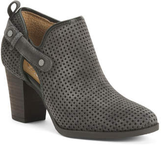 Suede Side Buckle Perforated Booties