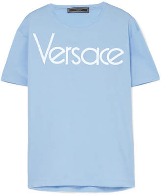 Versace - Embroidered Cotton-jersey T-shirt - Blue
