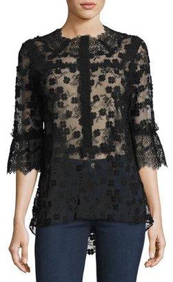 Elie Tahari Magda 3/4-Sleeve Lace Blouse, Black $398 thestylecure.com