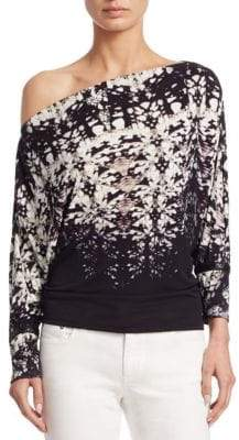 Roberto Cavalli One-Shoulder Jersey Blouse