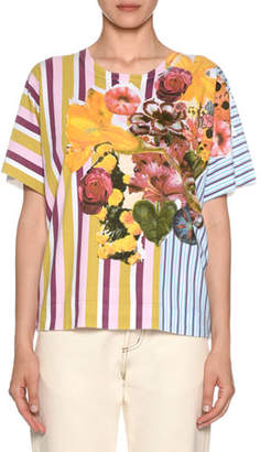 Marni Short-Sleeve Crewneck Striped & Floral-Print Cotton T-Shirt