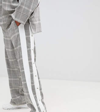 ADD sweatpants in check with side stripe poppers