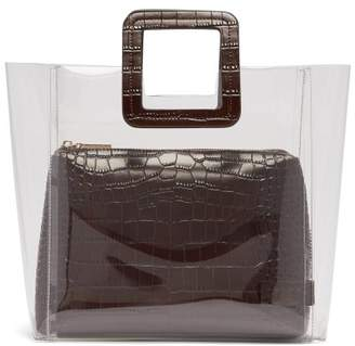 Staud - Shirley Pvc And Crocodile Effect Leather Tote - Womens - Brown