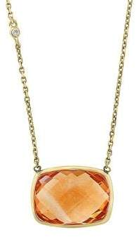 Effy Sunset Diamond, Citrine & 14K Yellow Gold Square Pendant Necklace