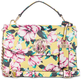 dba1bdf381562 GUESS Landon Floral Top Handle Flap Satchel