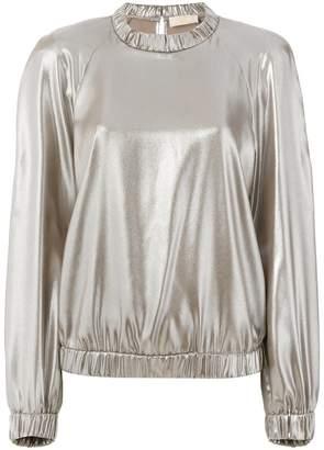 Sara Battaglia metallic effect blouse