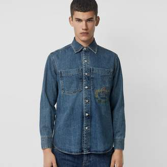 Burberry Crest Print Denim Overshirt