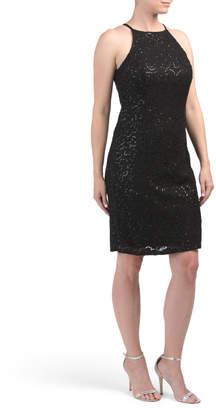 Sequin Halter Lace Dress