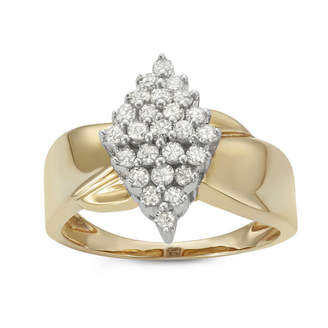 FINE JEWELRY Womens 1/2 CT. T.W. Round White Diamond 14K Gold Over Silver Cluster Ring
