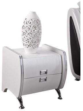 US Pride Furniture Victoria White Faux Leather Contemporary Nightstand