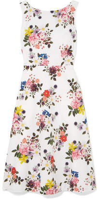 Erdem Maia Floral-print Cotton-poplin Dress - White