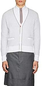 Thom Browne Men's Rib-Knit Cotton Cardigan - Light Gray