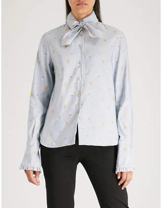 Philosophy di Lorenzo Serafini Neck-tie floral-jacquard shirt