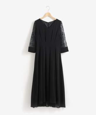 Perle Peche (ペルル ペッシュ) - Perle Peche スリーブレースVネックドレス