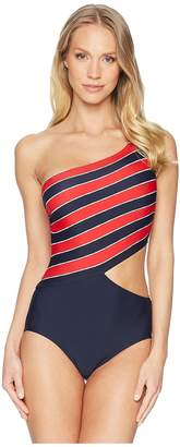 MICHAEL Michael Kors Rope Rugby Stripe One Shoulder Cut Out One-Piece Swimsuit w/ Zipper Removable Soft Cups Women's Swimsuits One Piece