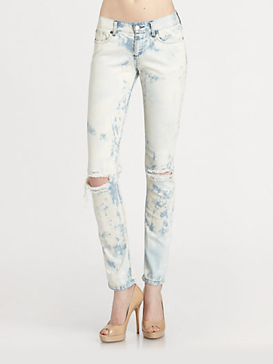 Haute Hippie Low-Rise Distressed Skinny Boyfriend Jeans
