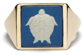 Ferian - Wedgewood Turtle Signet Ring - Womens - Blue